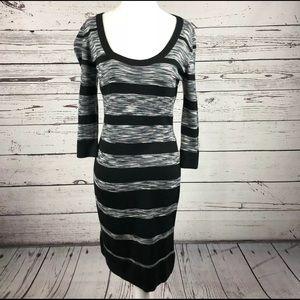 Calvin Klein Marled Gray Black Sweater Dress Med.